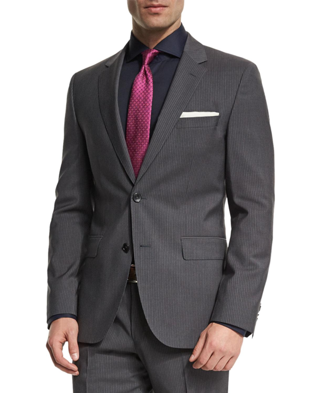 b9808c9be BOSS Johnstons Lennon Fine-Striped Slim-Fit Basic Two-Piece Suit, Gray