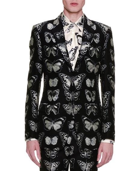 Alexander McQueen Moth-Jacquard Blazer, Black/Silver