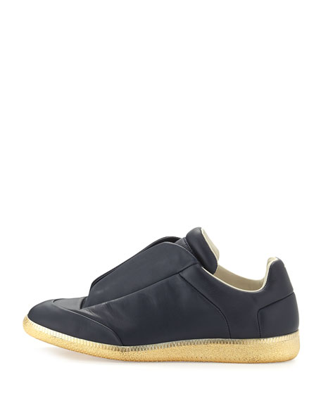Future Leather Low-Top Sneaker with Golden Sole, Navy
