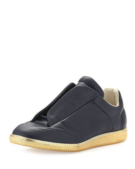 Maison Margiela Future Leather Low-Top Sneaker with Golden