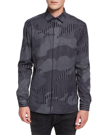 Chalk-Stripe Camo Sport Shirt