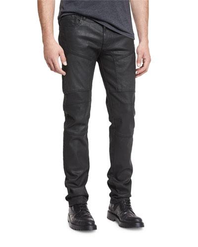 Resin-Coated Moto Jeans, Black
