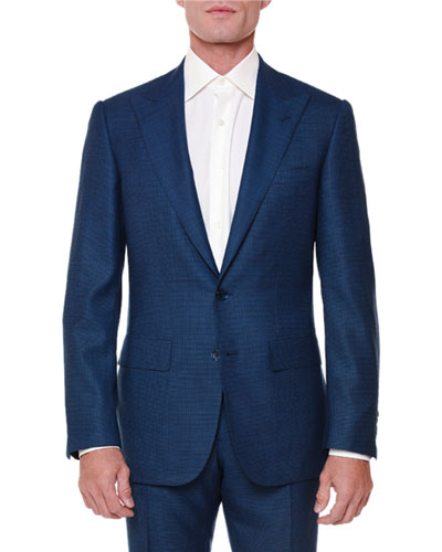 Textured Peak-Lapel Wool-Blend Suit, Navy