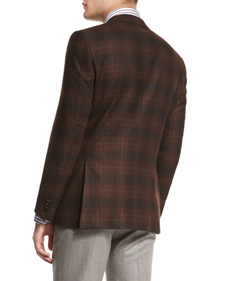 Trofeo-Cashmere Plaid Jacket, Rust