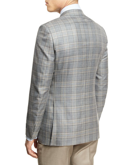 Plaid Two-Button Sport Coat, Gray/Camel
