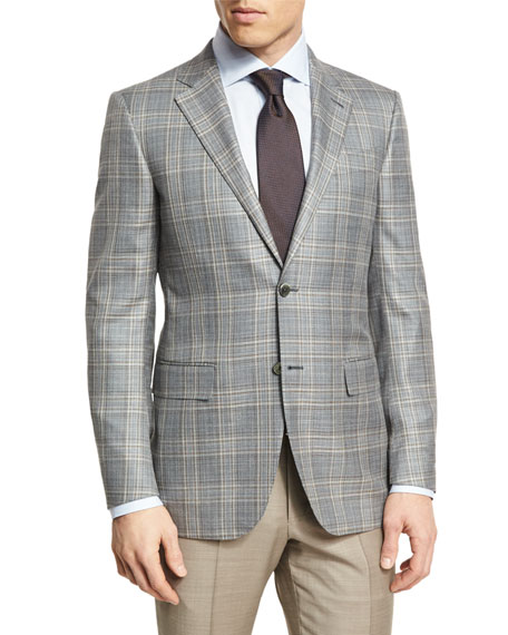 Ermenegildo Zegna Plaid Two-Button Sport Coat, Gray/Camel