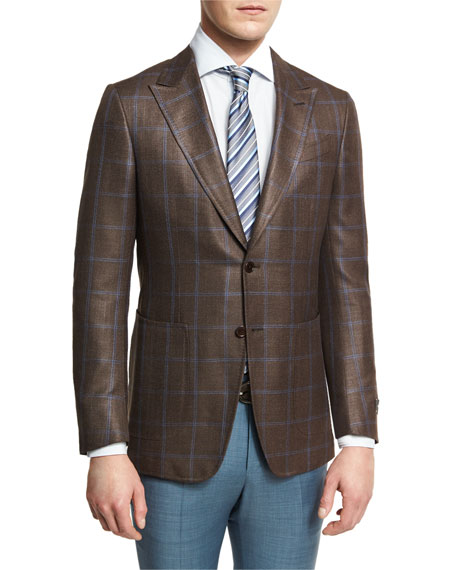 Ermenegildo Zegna Windowpane Check Two-Button Sport Coat,