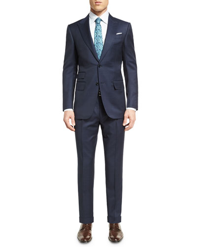 Tonal Plaid Wool Two-Piece Suit, Navy