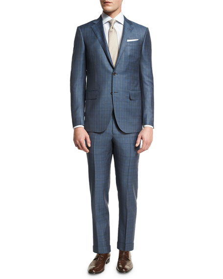 Ermenegildo Zegna Plaid WOOL Two-Piece Suit, Blue/Gray