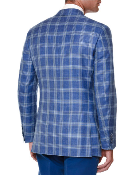 Windowpane Two-Button Sport Coat, Blue