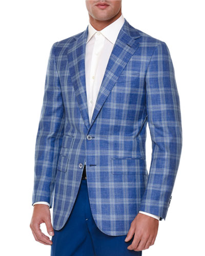 WINDOWPANE SPORT COAT BLUE