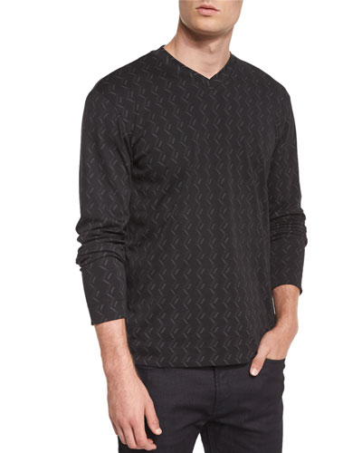 Tonal Chevron-Print Long-Sleeve T-Shirt, Black