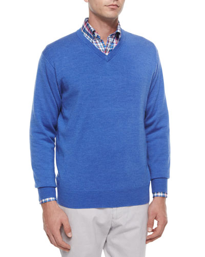 Wool V-Neck Sweater, Blue