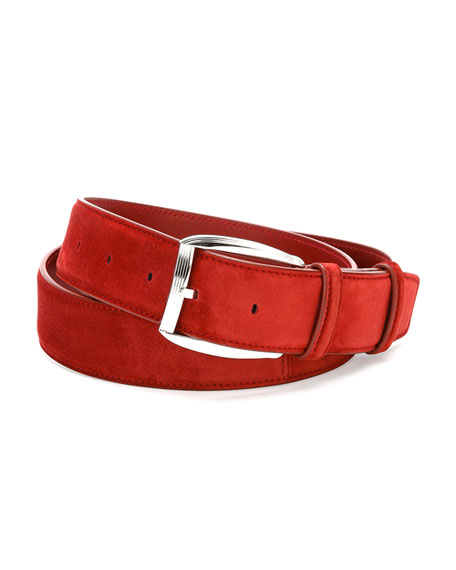 Calf Leather Belt, Red