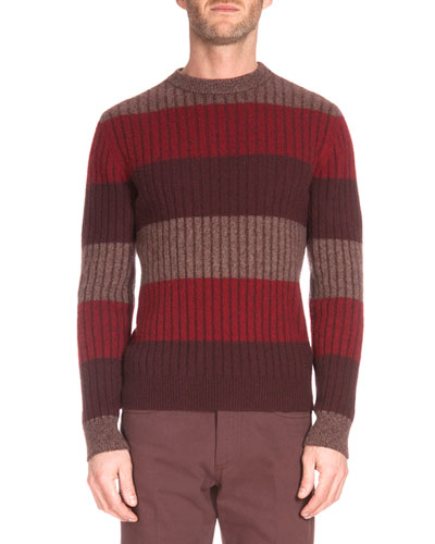 Thick-Stripe Crewneck Sweater, Red