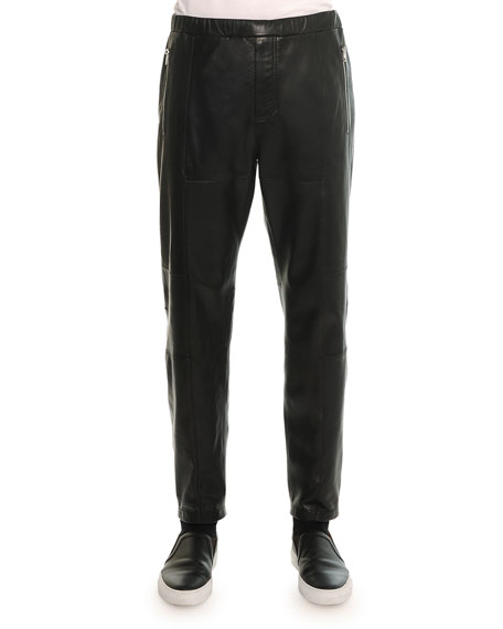 Givenchy Leather Jogger Pant, Black