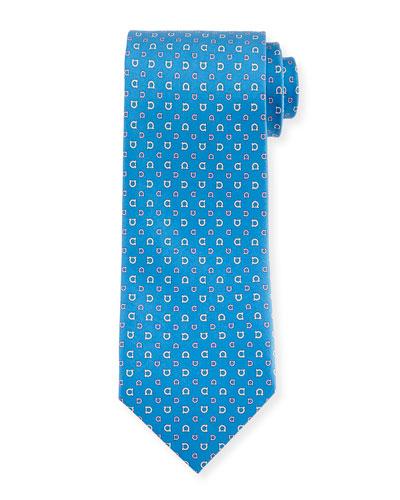 Gancini-Print Woven Tie, Blue