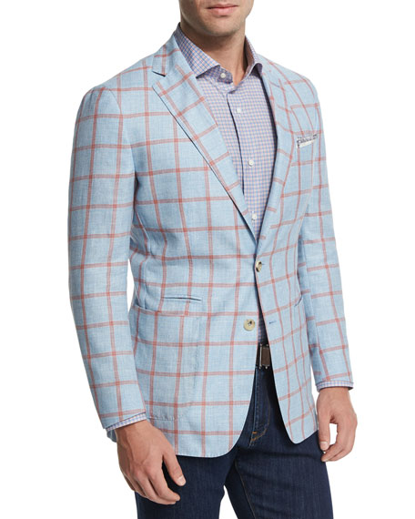 Peter Millar Hamptons Windowpane Wool-Blend Sport Coat, Blue