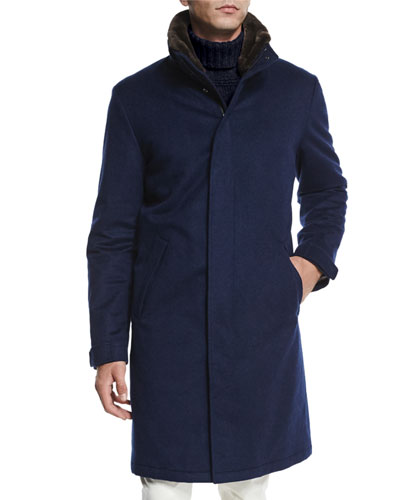 Men's Icer Cashmere Coat with Fur-Trimmed Collar, Blue