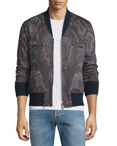 Paisley-Print Zip-Up Bomber Jacket, Multi