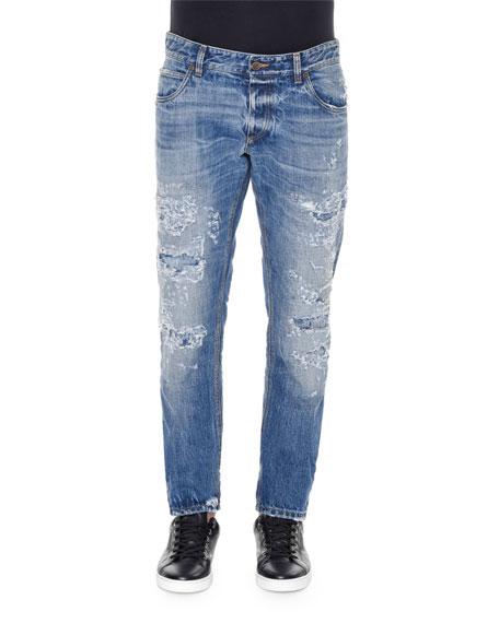 Destroyed Light-Wash Denim Jeans, Blue