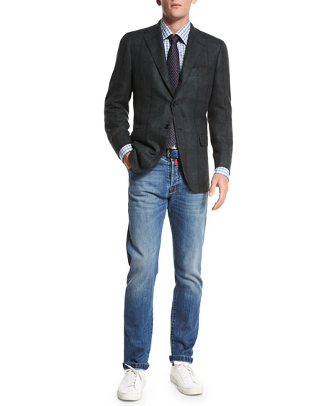 Slim-Fit Dark-Wash Denim Jeans