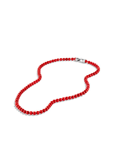 6mm Red Coral Spiritual Bead Necklace