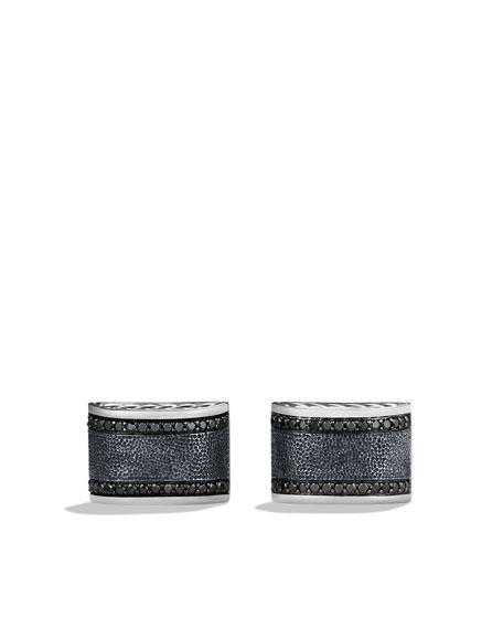 Chevron Cuff Links with Black Diamonds