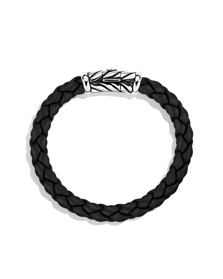 Weave Bracelet, Black Rubber, 8mm