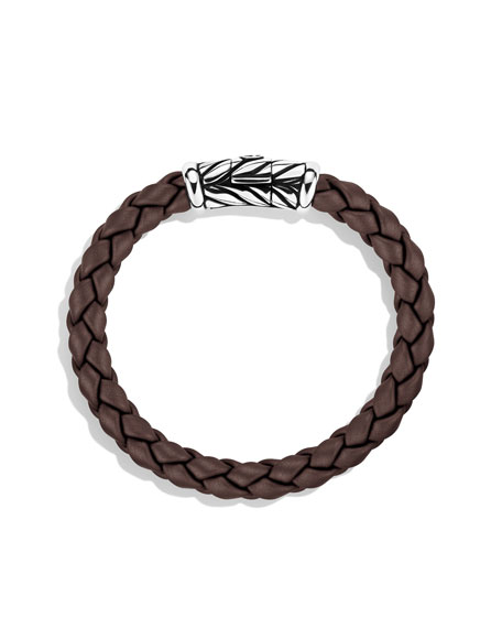 8mm Brown Rubber Weave Bracelet