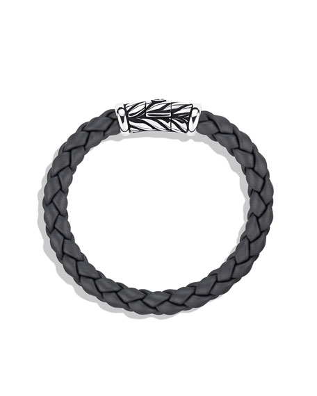 8mm Gray Rubber Weave Bracelet
