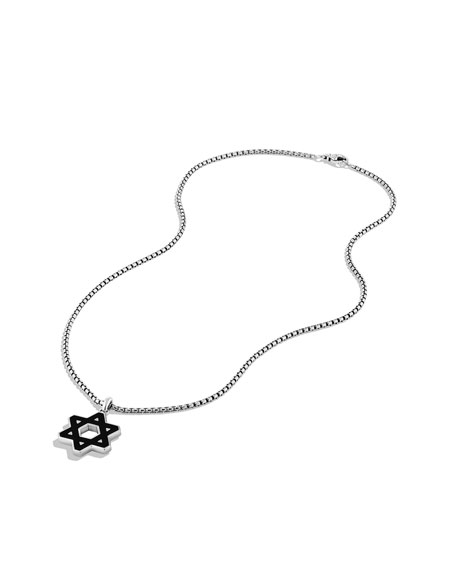 Exotic Stone Reversible Star of David with Black Onyx on Chain