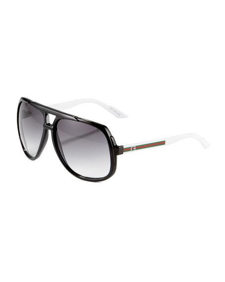 Large Plastic Navigator Sunglasses, Black/White