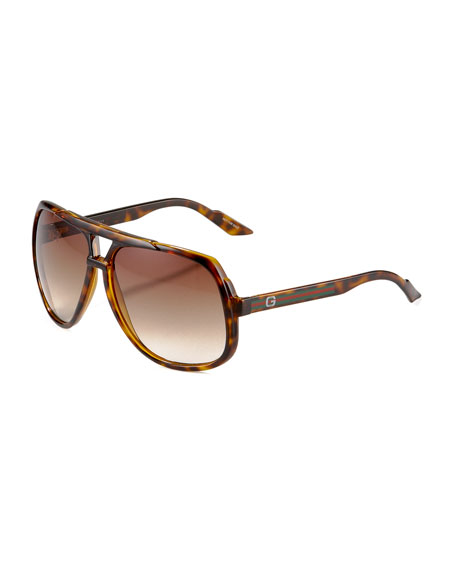 GucciLarge Plastic Navigator Sunglasses, Havana