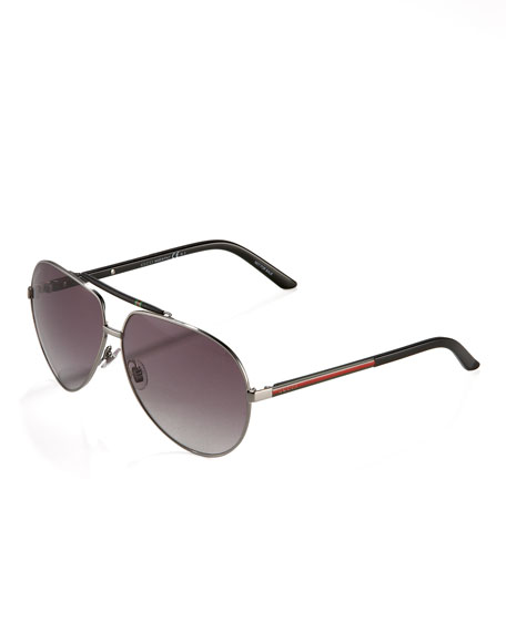 Ruthenium/ Black Web-Detail Aviators