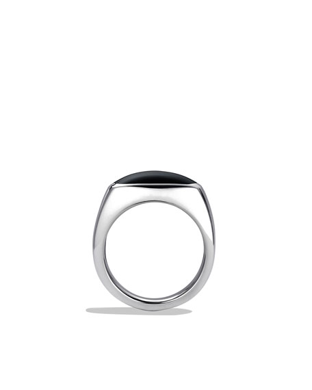 Exotic Stone Signet Ring with Black Onyx