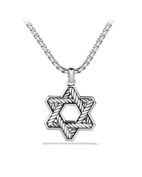 Pav&#233 Reversible Star of David with Black Diamonds on Chain