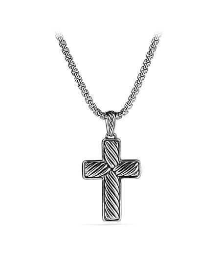 Pavé Chevron Cross with Black Diamonds on Chain