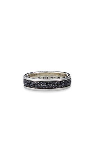 David Yurman Streamline Two-Row Band Ring with Black Diamonds