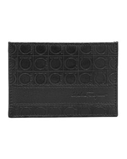 Salvatore Ferragamo Gamma Card Case, Black