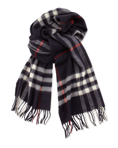 Burberry Giant-Check Cashmere Scarf, Navy