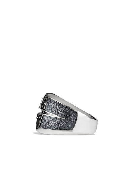 Maritime North Star Signet Ring with Black Diamonds