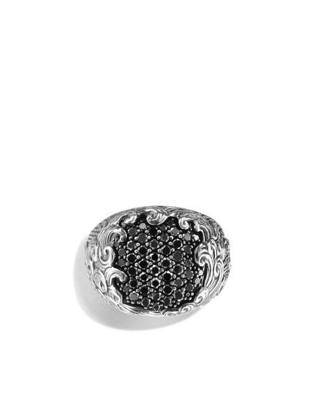 Waves Signet Ring with Black Diamonds