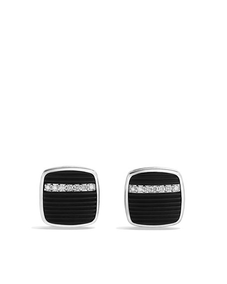 Royal Cord Cuff Links with Black Onyx and Diamonds