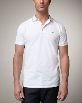 Tipped Logo Polo, White