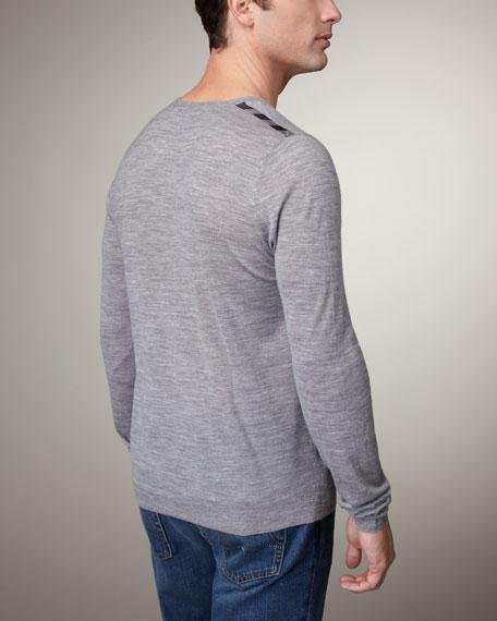 Check-Shoulder Wool Sweater, Black