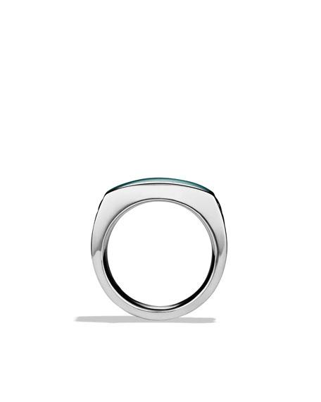 Chevron Narrow Ring with Malachite