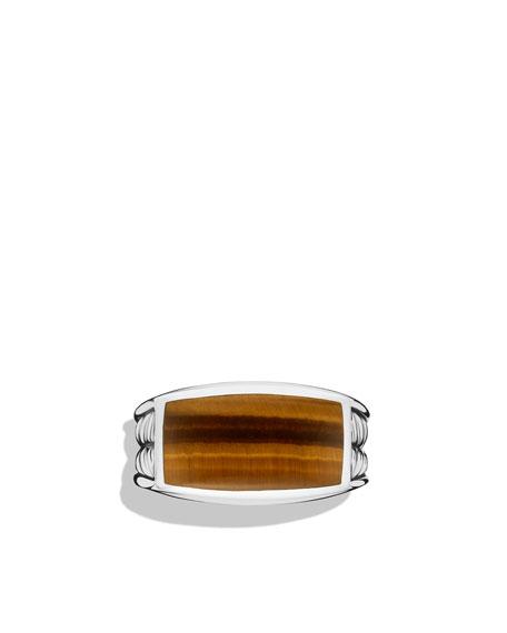 Chevron Narrow Ring with Tiger's Eye