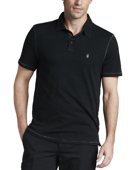 John Varvatos Star USA Pickstitched Slub Polo, Black