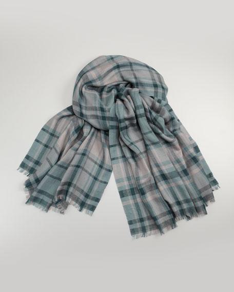 Plaid Cashmere-Silk Scarf